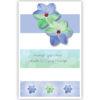 Dubbele kaart - Blauw-groene bloemen