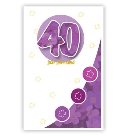 Dubbele kaart - 40 met paarse bloemen