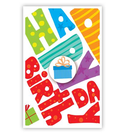 Dubbele kaart - Happy birthday letters en cadeaus