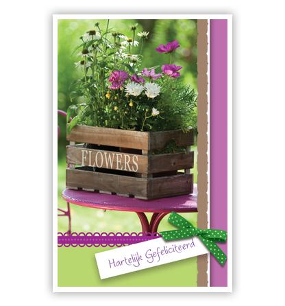 Dubbele kaart - Bloemen in kist