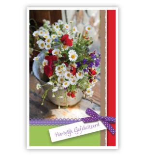 Dubbele kaart - Veldbloemen in emmer