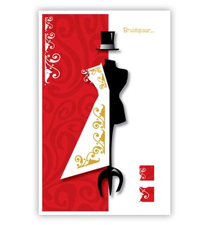 Dubbele kaart - Paspop met deel trouwjurk en hoge hoed