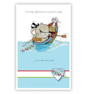Dubbele kaart - Olifant en muis in een roeiboot