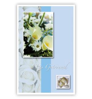 Dubbele kaart - Witte bloemen en trouwringen