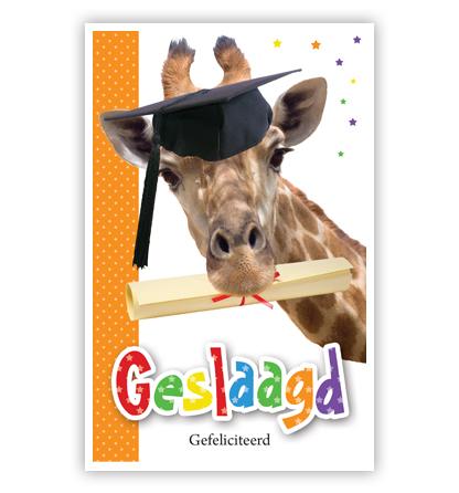 Dubbele kaart - Giraffe met diploma