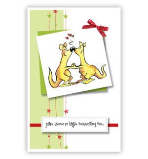 Dubbele kaart - Twee verliefde kangoeroes en rood strikje