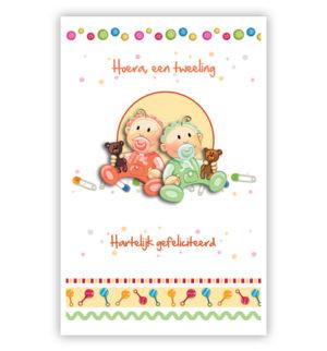 Dubbele kaart - Babytweeling in oranje en groen pakje