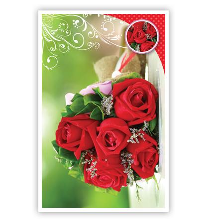 Dubbele kaart - Boeket rode rozen